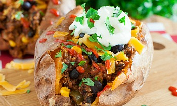 Vegetarian Chili Stuffed Sweet Potatoes