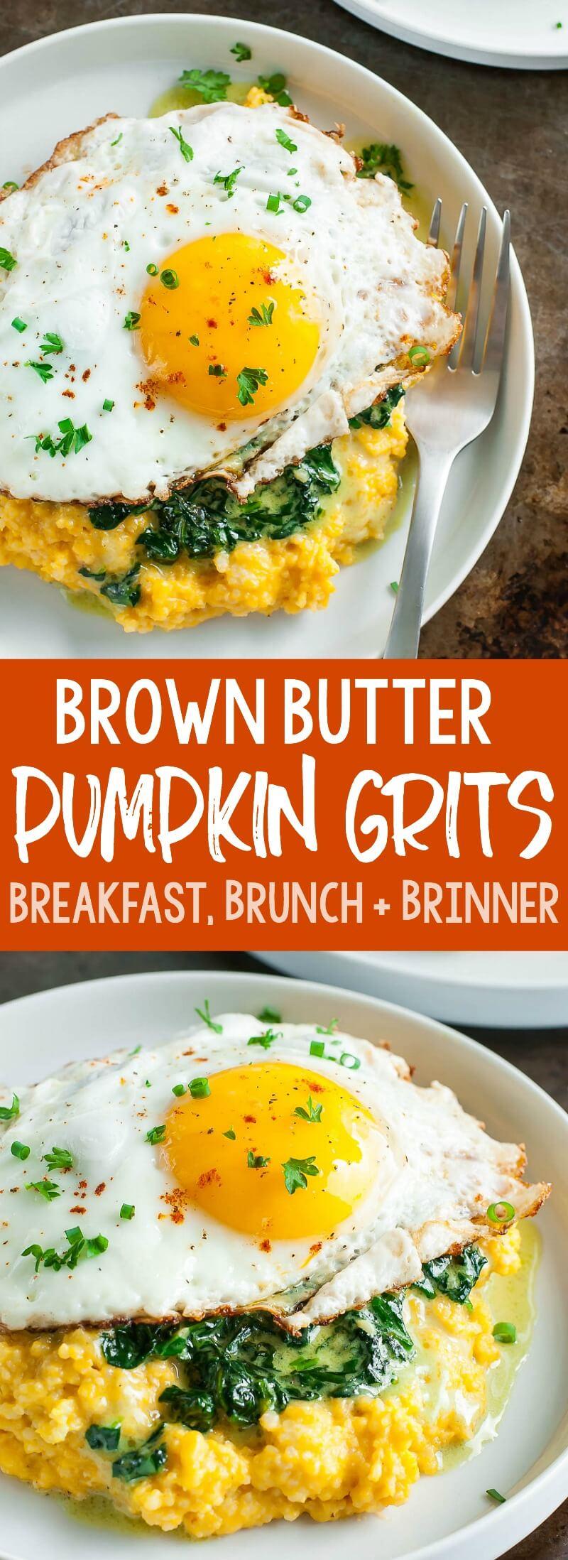 Creamy cheese grits swirled with brown butter and pumpkin, these Brown Butter Pumpkin Grits are amazing! #pumpkin #breakfast #brunch #brinner #glutenfree #vegetarian