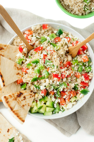 This healthy vegetarian Greek Quinoa Salad will make staying on track in 2016 a breeze!