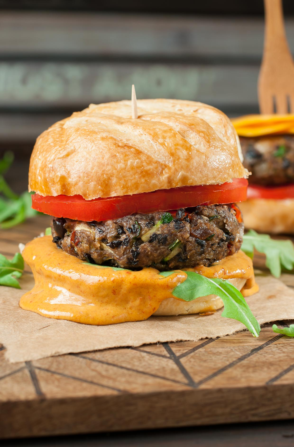 Black Bean Veggie Burgers with Chipotle Honey Mustard