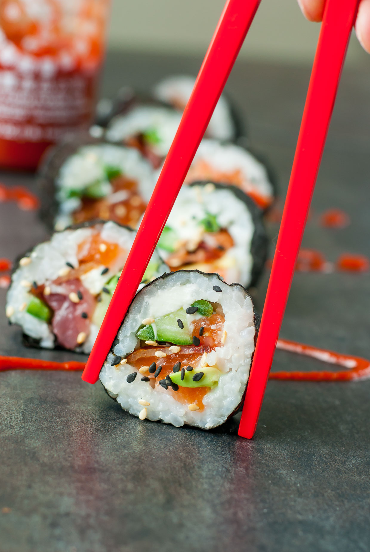 Homemade Sushi -- These Bacon Avocado Sushi Rolls are a bit unconventional but SO INSANELY TASTY!