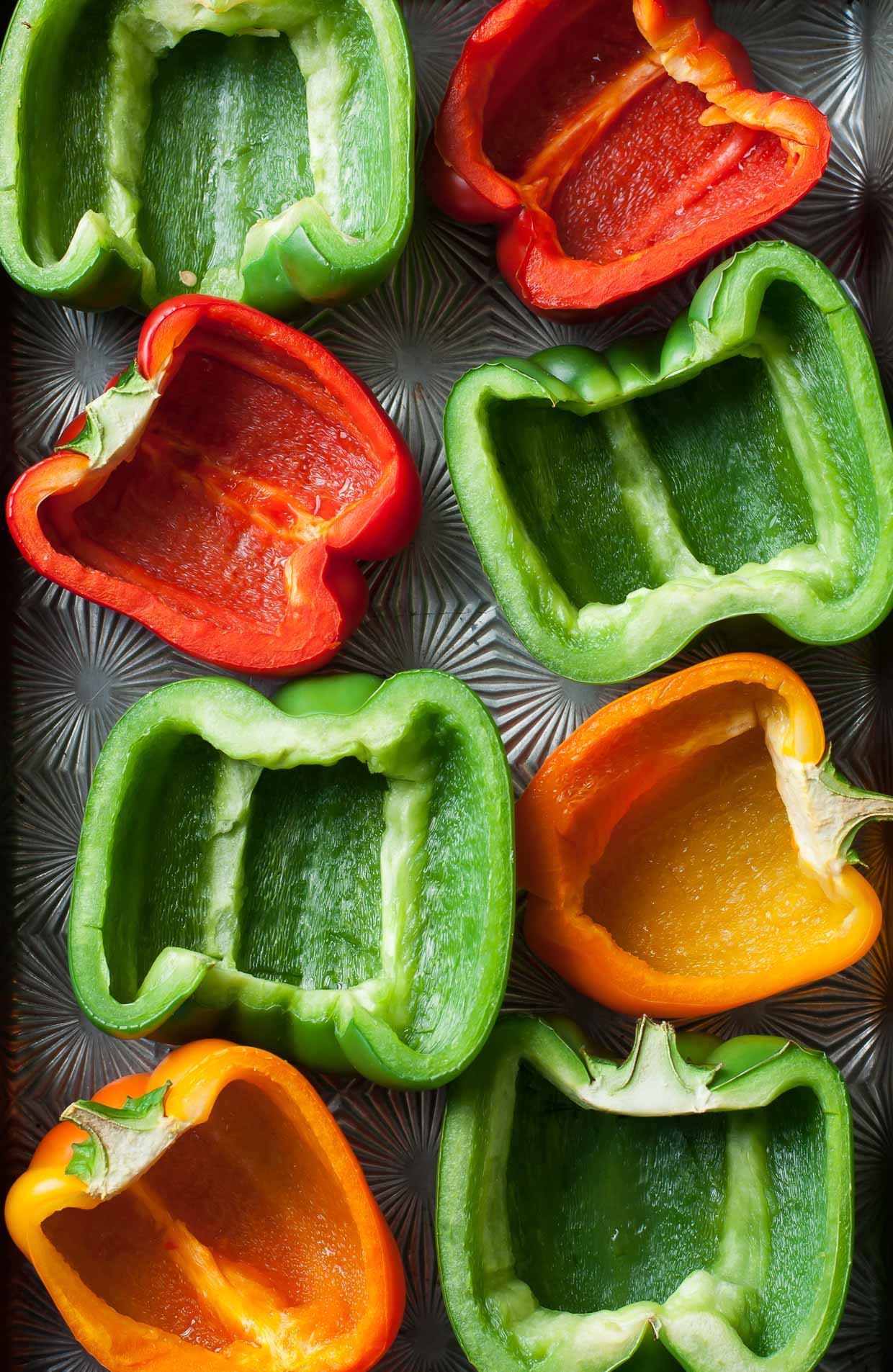 Cheesy Buffalo Chicken + Veggie Stuffed Peppers