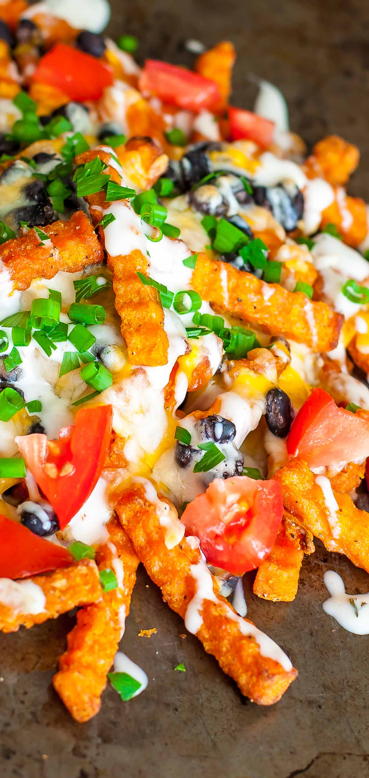 Whenever I have a lone bag of french fries in my freezer I bake them up and make Loaded Mexican Sweet Potato Cheese Fries - like nachos, only better!