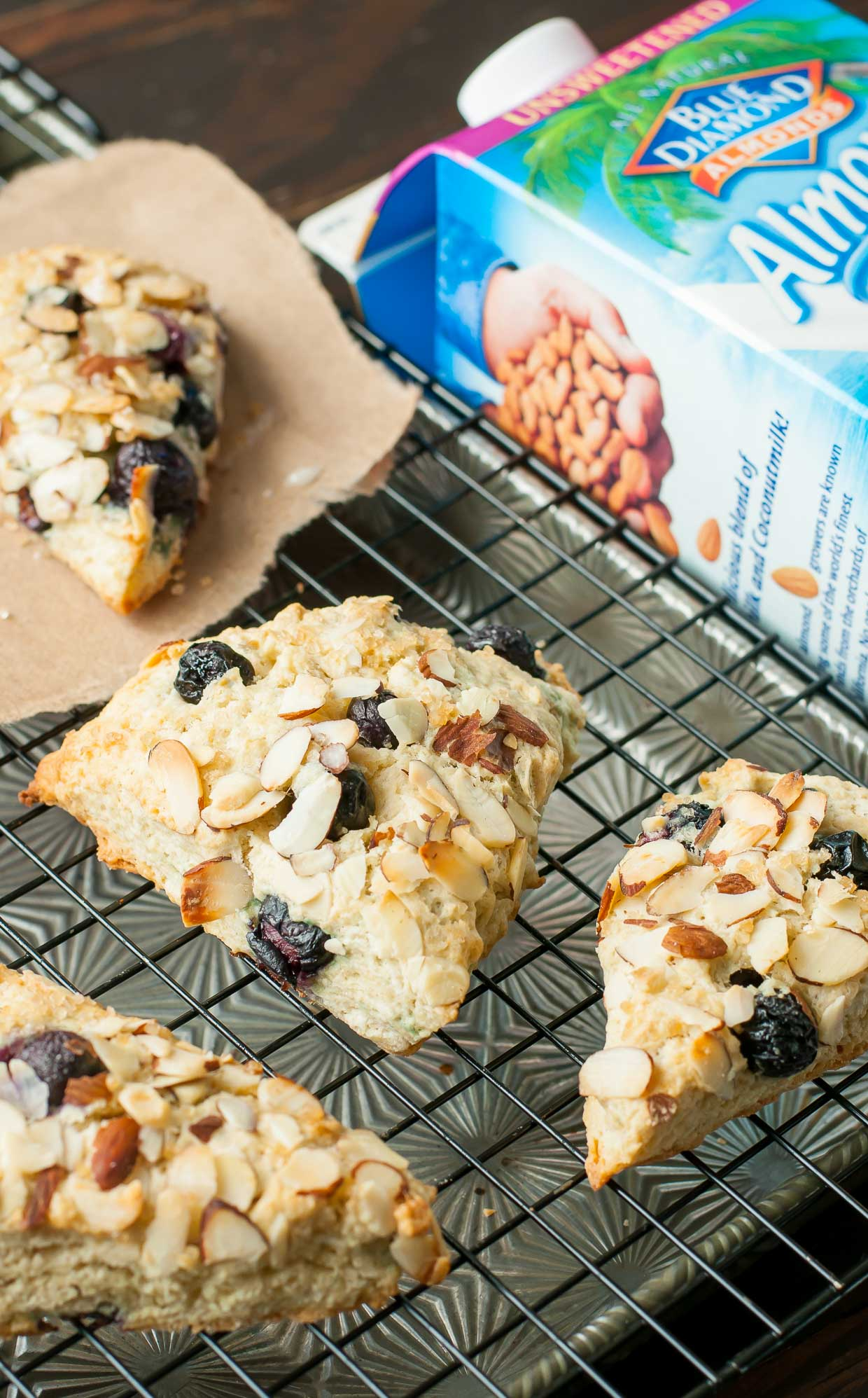 Fluffy Bakery-Style Almond Blueberry Scones - lightened up with almond milk!