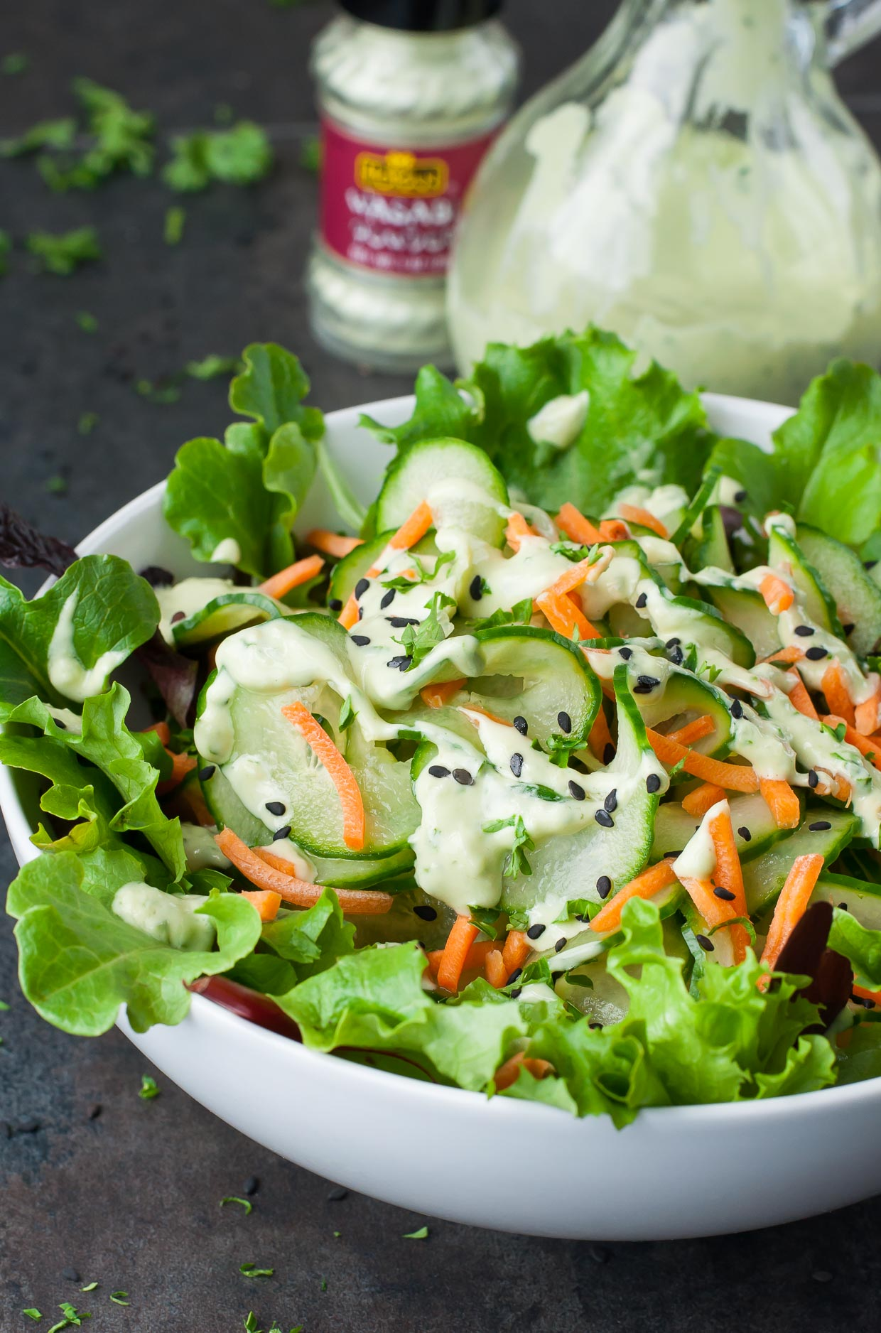 Wasabi Cucumber Avocado Dressing + Spiralized Cucumber Salad