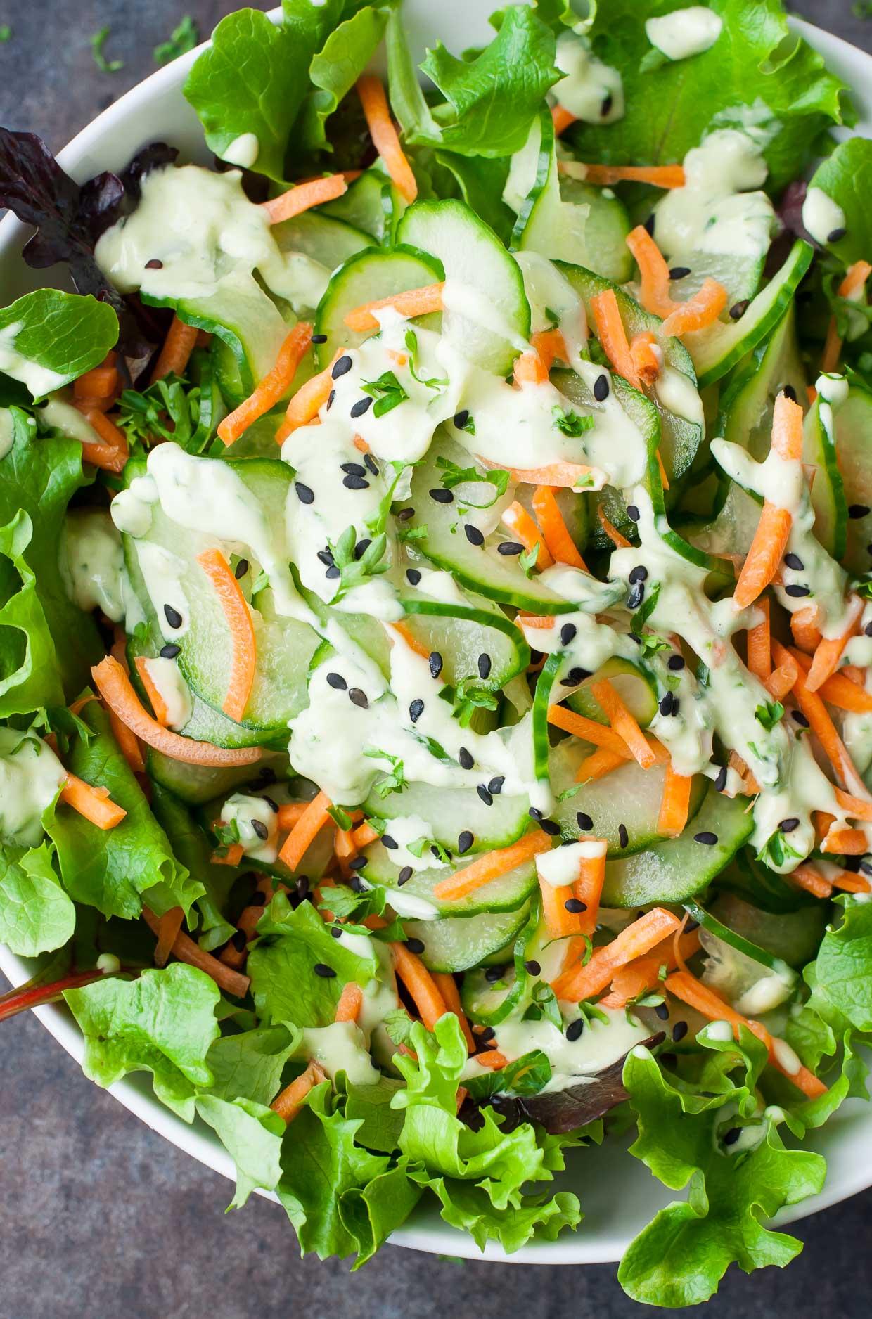 Wasabi Cucumber Avocado Dressing + Spiralized Cucumber Salad