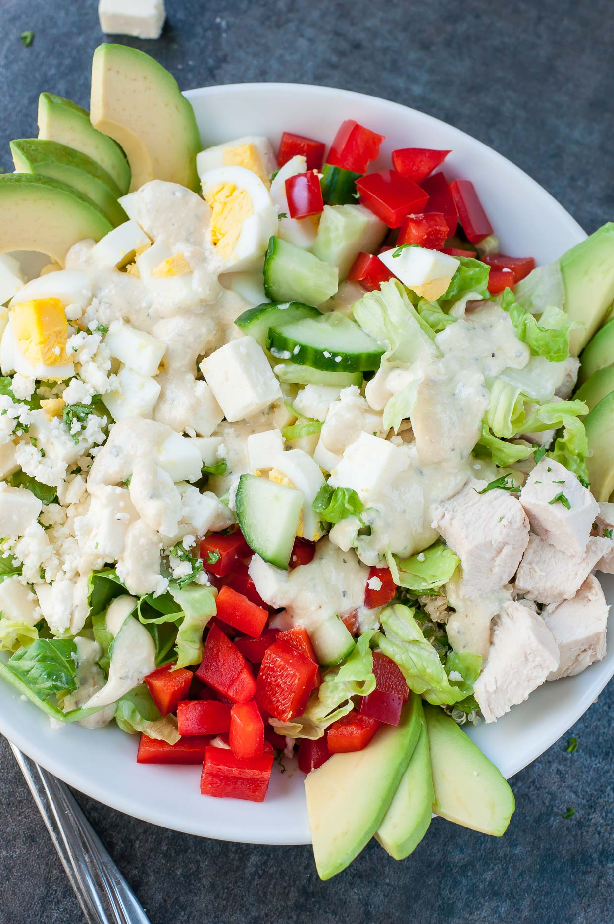 Kick up the classic cobb salad with a Mediterranean twist! This Greek Cobb Salad is loaded with flavor and makes a great healthy lunch at home or on the go!