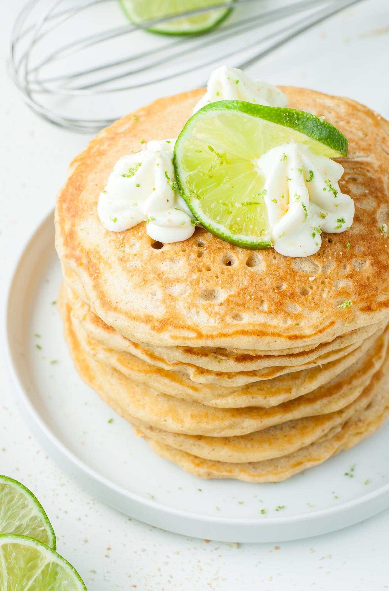 Ultra-fluffy Key Lime Pie Pancakes - our family's favorite!