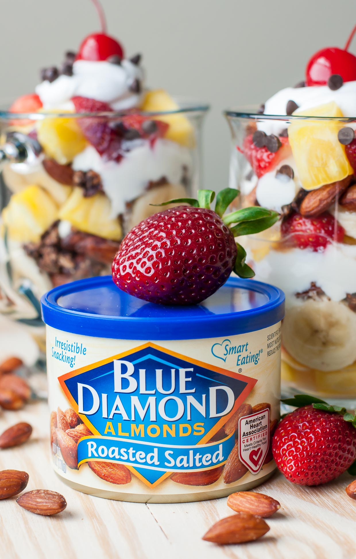 Healthy Banana Split Parfaits with Blue Diamond Almonds!