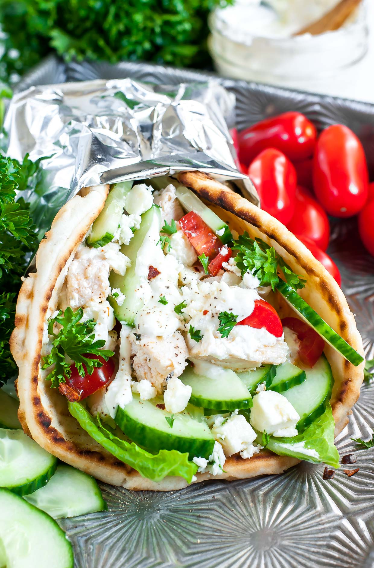 Easy Chicken Gyros With Greek Feta Sauce Peas And Crayons
