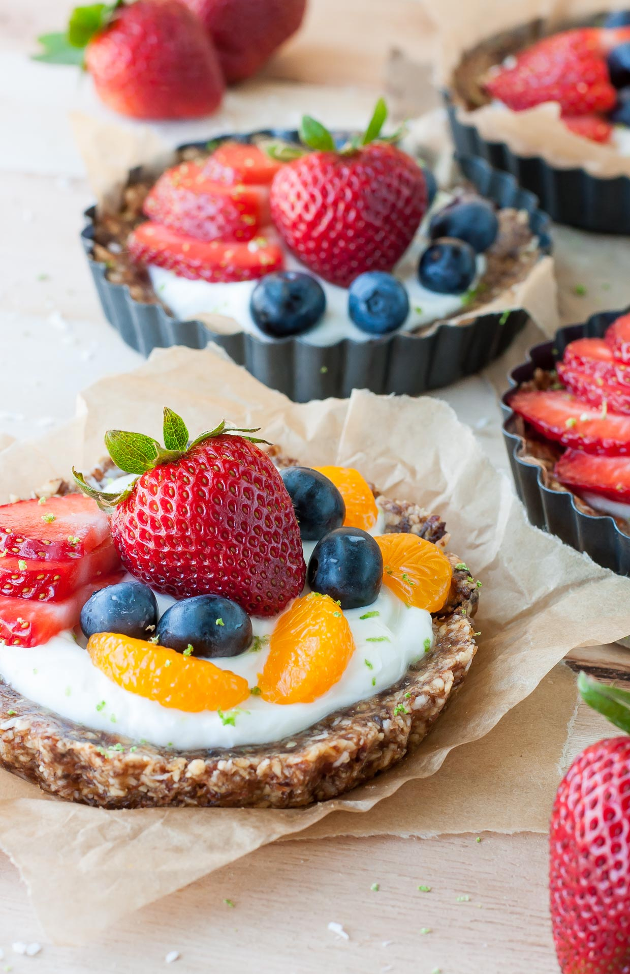 Healthy No-Bake Coconut Lime Tarts with Fruit and Yogurt