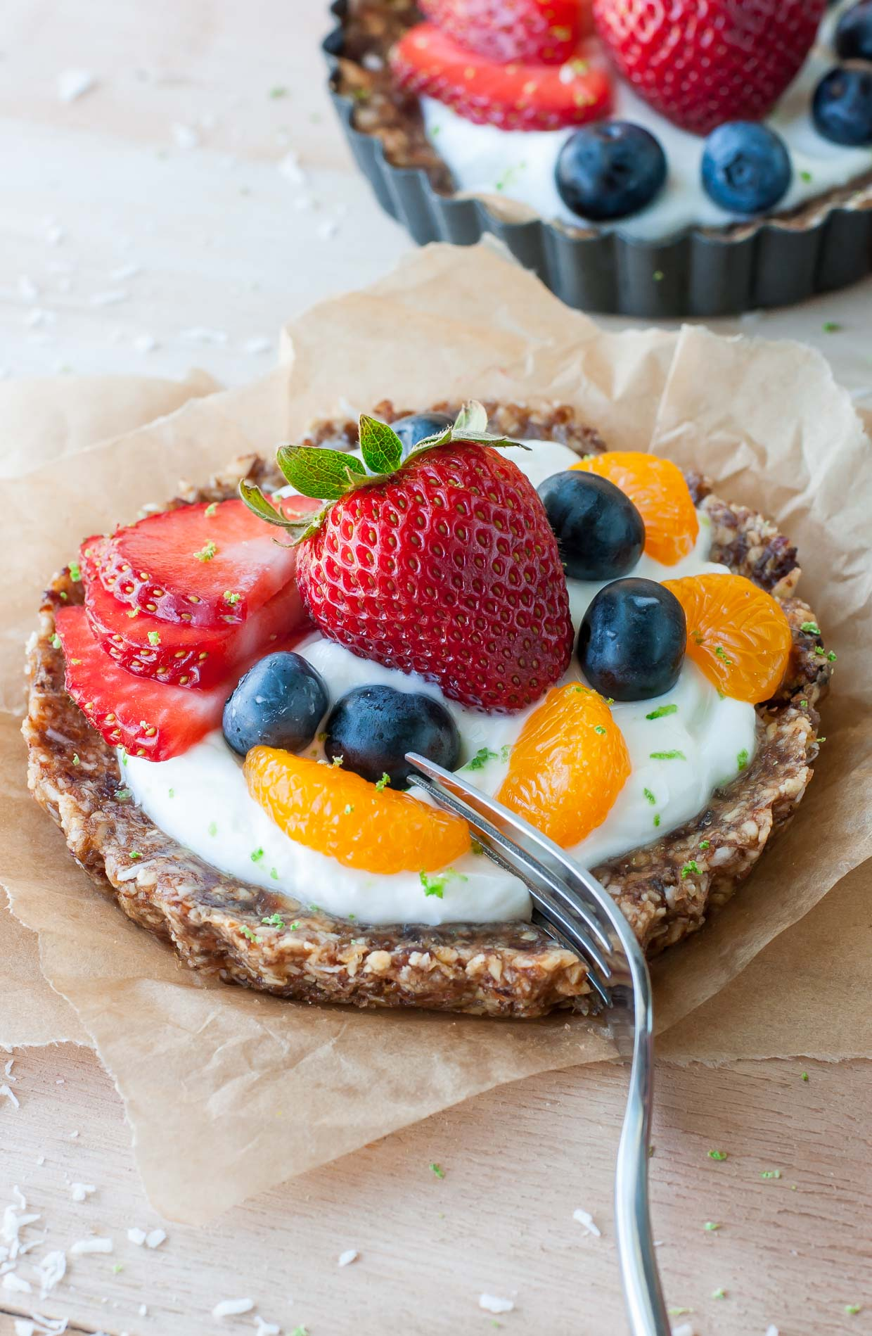Healthy No-Bake Coconut Lime Fruit + Yogurt Tarts