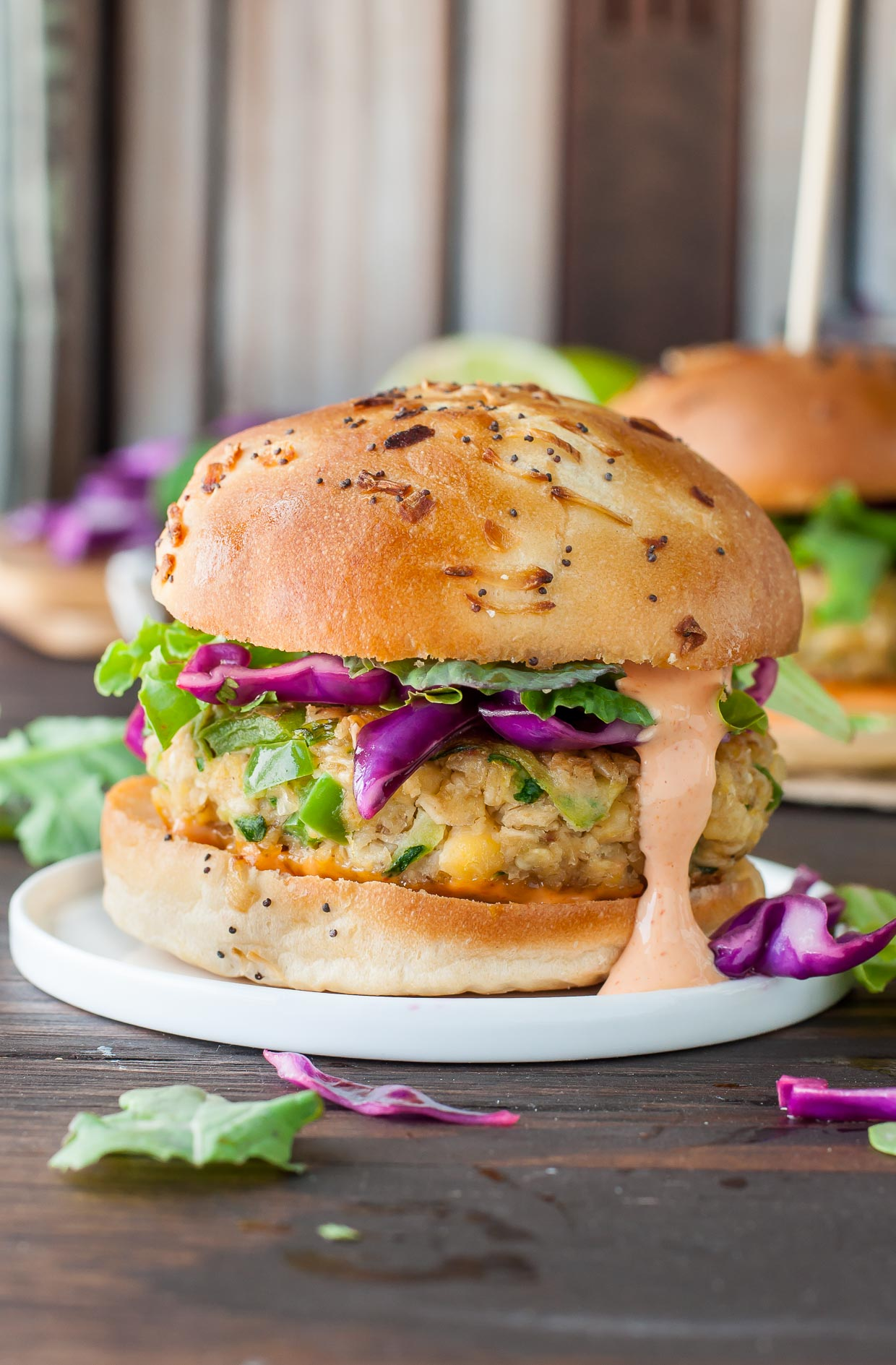 Spicy chickpea veggie burgers with jalapeo and zucchini peas and spicy chickpea veggie burgers with jalapeo and zucchini topped with a tasty honey lime slaw forumfinder Images