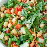 Chickpea Chopped Salad with Basil Vinaigrette Dressing