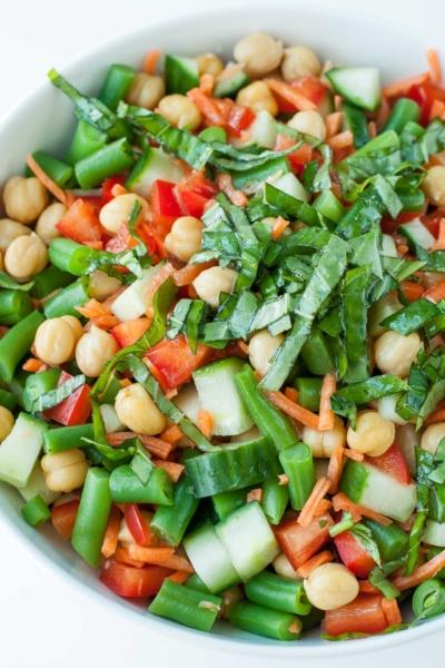 Chickpea Chopped Salad with Basil Vinaigrette Dressing