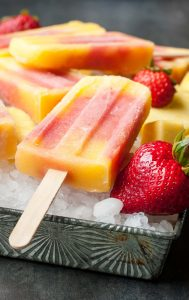 Tropical Mango Pineapple Strawberry Swirled Fruit Pops