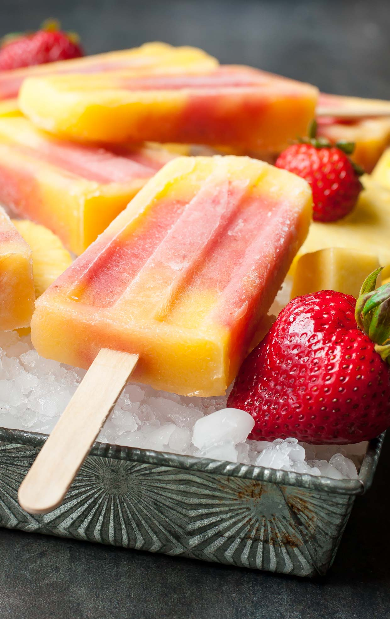 Tropical Fruit Pops with Strawberries and Pineapple