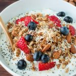 RED WHITE and BLUEberry breakfast bowls with maple almond granola and toasted coconut