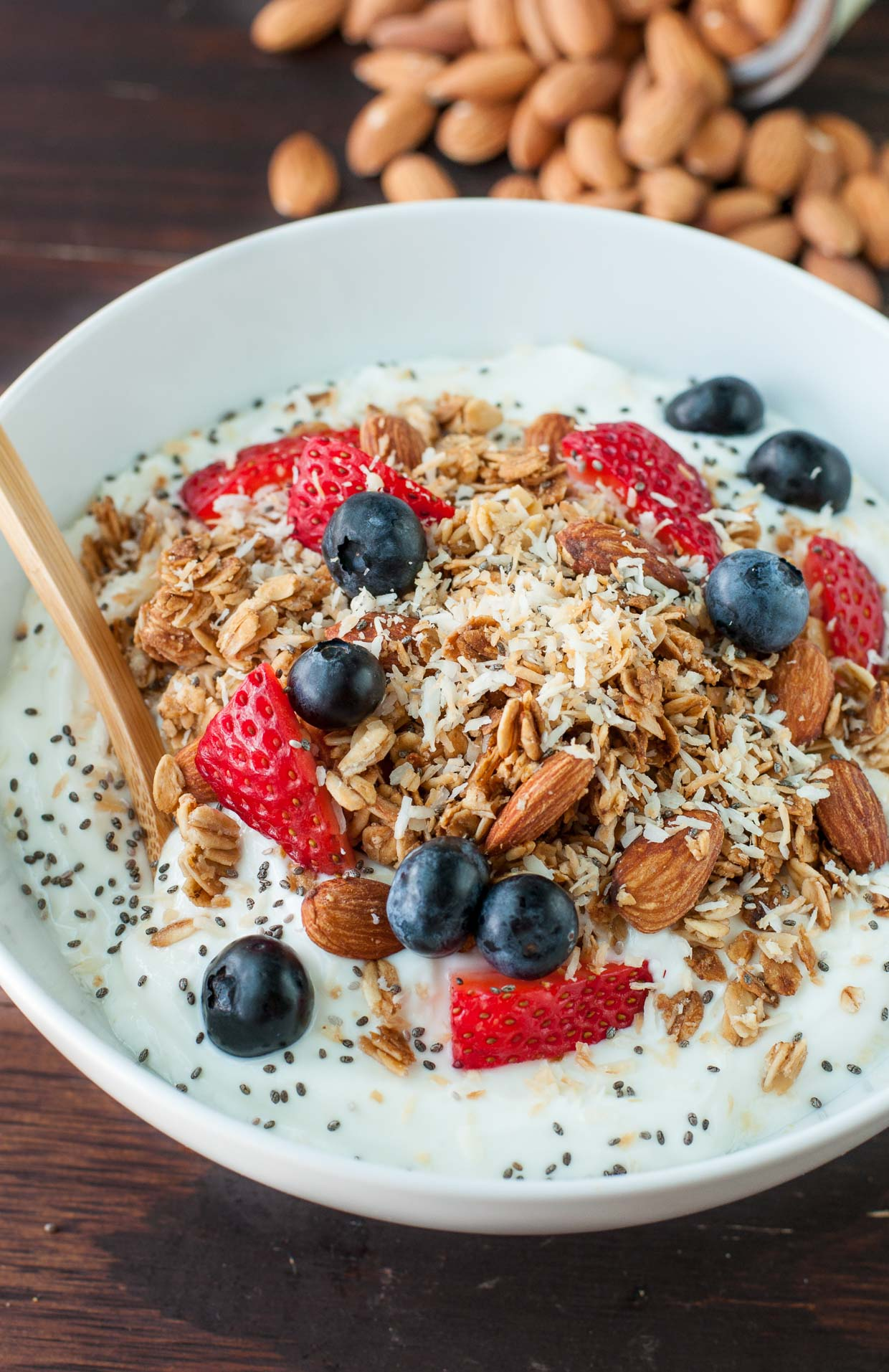 Say hello to mygo-to quick and easy breakfast! I'm head over heels for this HEALTHY homemade maple almond granola!