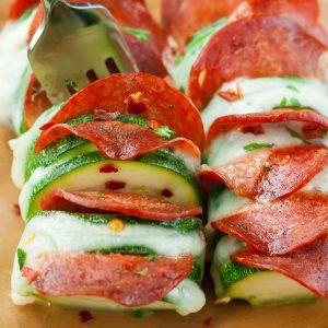 Cheesy Hasselback Zucchini Pizzas