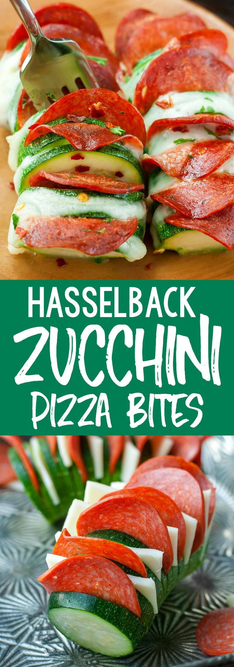 Skip the crust and grab a zucchini! These Cheesy Hasselback Zucchini Pizzas are guaranteed to impress and SO easy to make! #pizza #zucchini #glutenfree #zucchinipizza #keto #lowcarb