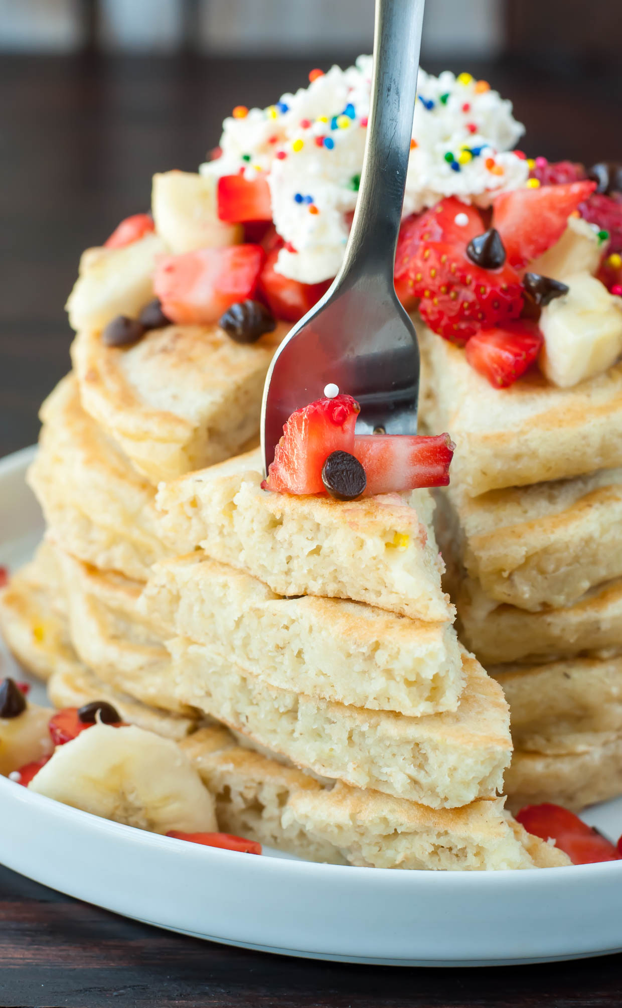 Healthy Banana Split Pancakes with Almond Milk!