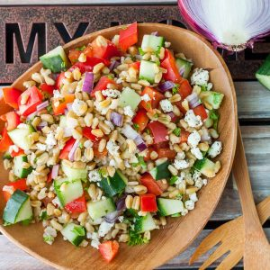 Give a tasty new grain a try with this Healthy Greek Freekeh Salad recipe!