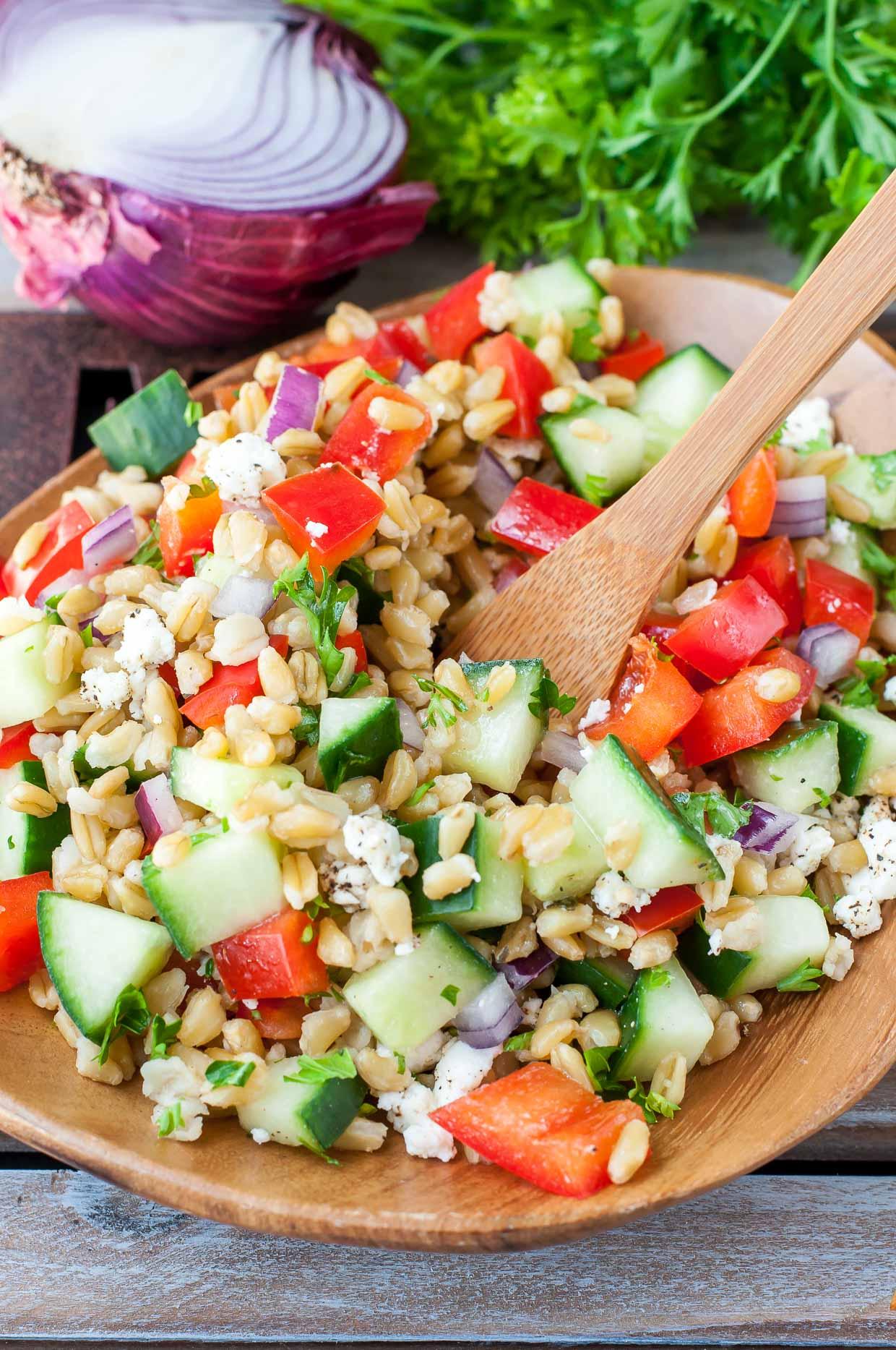 Heathy Greek Freekeh Salad Recipe Peas And Crayons