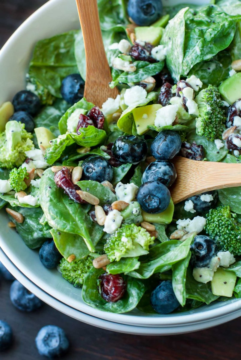 Sweet and Savory Blueberry Recipes - Blueberry Broccoli Spinach Salad with Poppyseed Ranch