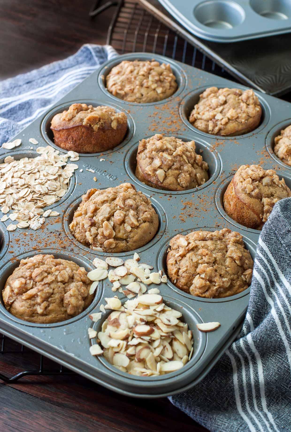 Cinnamon Streusel Banana Almond Muffins