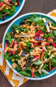 Southwestern Kale Salad with BBQ Ranch and Pecans