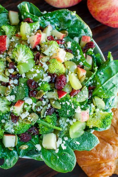 Apple Cranberry Spinach Salad with Broccoli and Feta