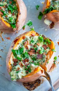 Cheesy Kale Stuffed Sweet Potatoes with Havarti and Garlic