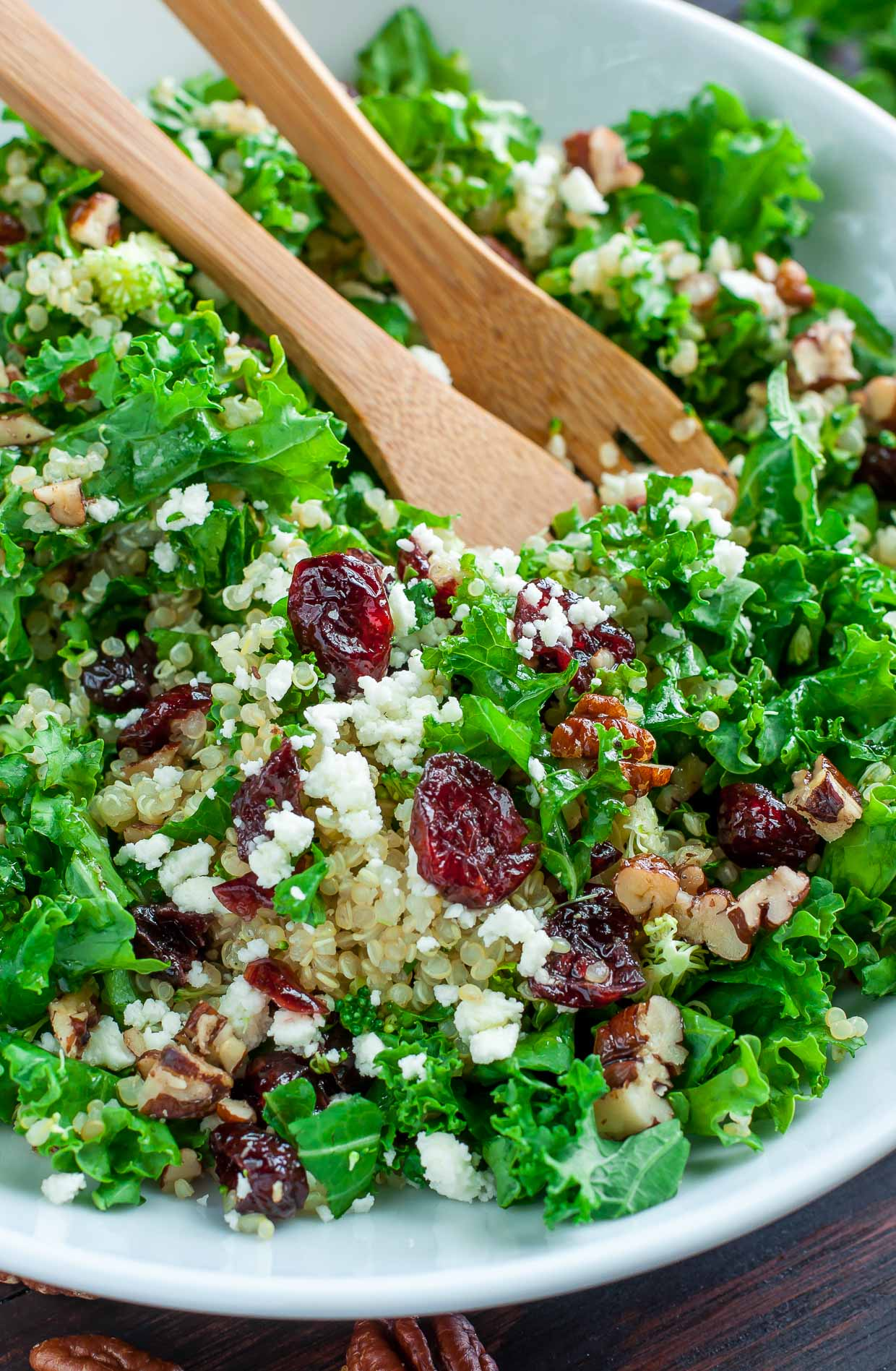This Cranberry Kale Quinoa Salad with Candied Pecans and Feta is the perfect Fall salad! Tender kale, tart cranberries, creamy feta, and nutty quinoa are tossed in a super simple vinaigrette and topped with buttery homemade candied pecans.