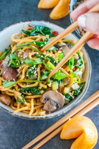 Spinach Mushroom Leek Long Life Noodles