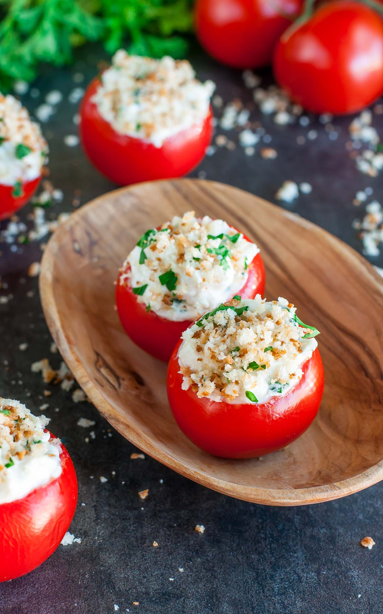 These 6-ingredient herbed Goat Cheese Stuffed Tomatoes are healthy, delicious, and a total breeze to throw together.