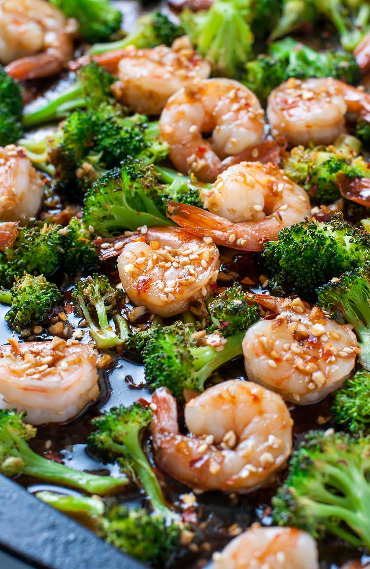 Sheet pan roasted honey garlic shrimp and broccoli peas What to make with shrimp for dinner