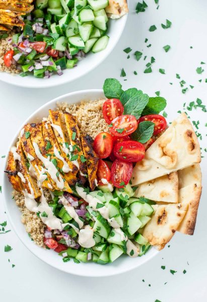 Loving this recipe for healthy Chicken Shawarma Quinoa Bowls with a super easy hack for creating make-ahead lunches for work or school. The flavors are out of this world!!