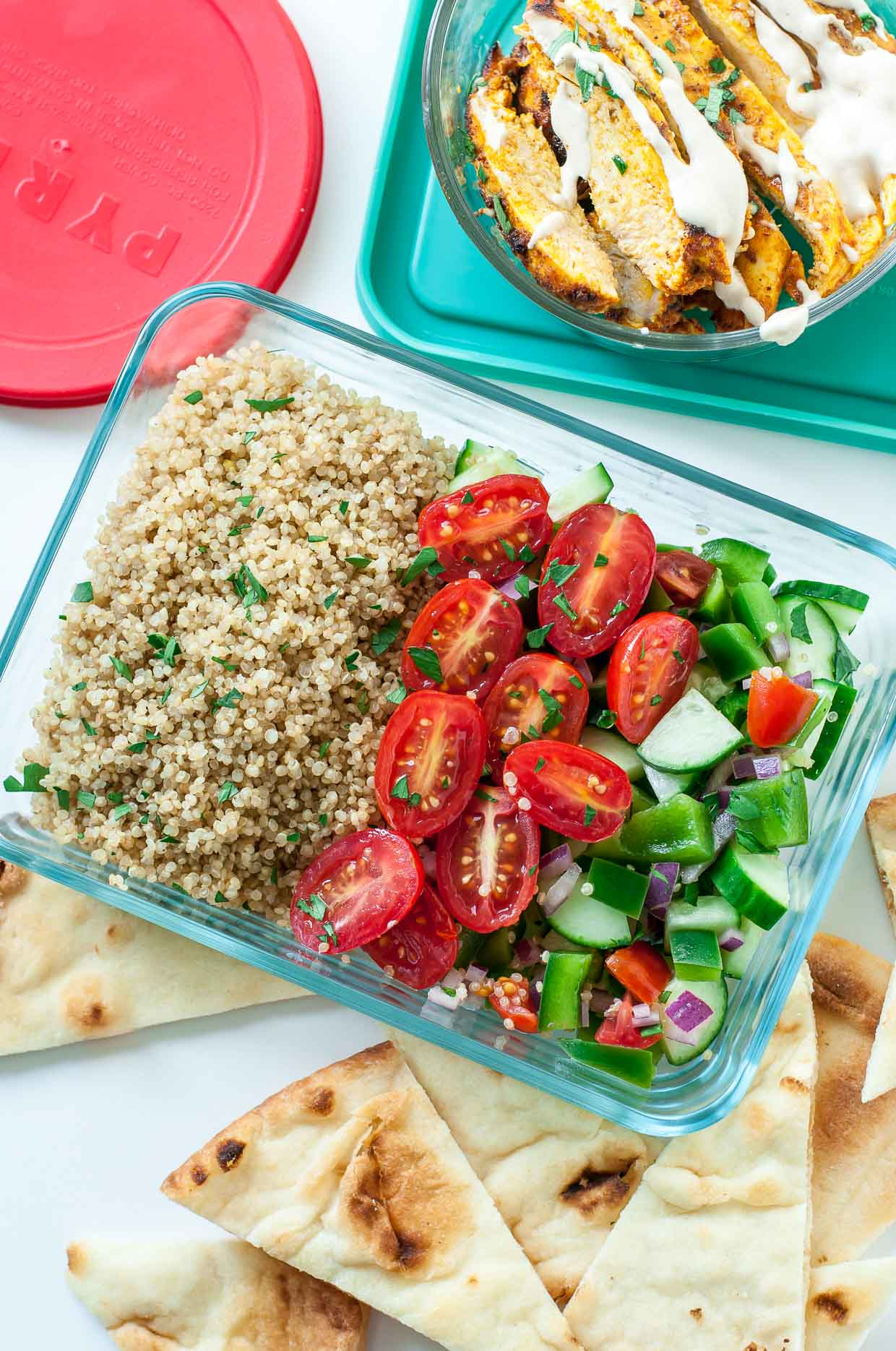 Loving this recipe for healthy Chicken Shawarma Quinoa Bowls with a super easy hack for creating make-ahead meal-prep style lunches for work or school. The flavors are out of this world!!