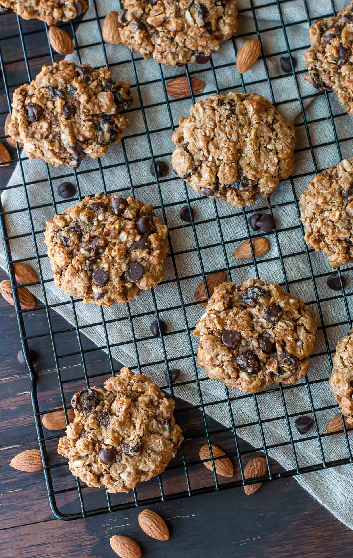 C is for COOKIES!!!!! These healthy Gluten-Free Chocolate Cherry Oatmeal Cookies are packed with simple ingredients for a delicious snack that'll help you power through your day!