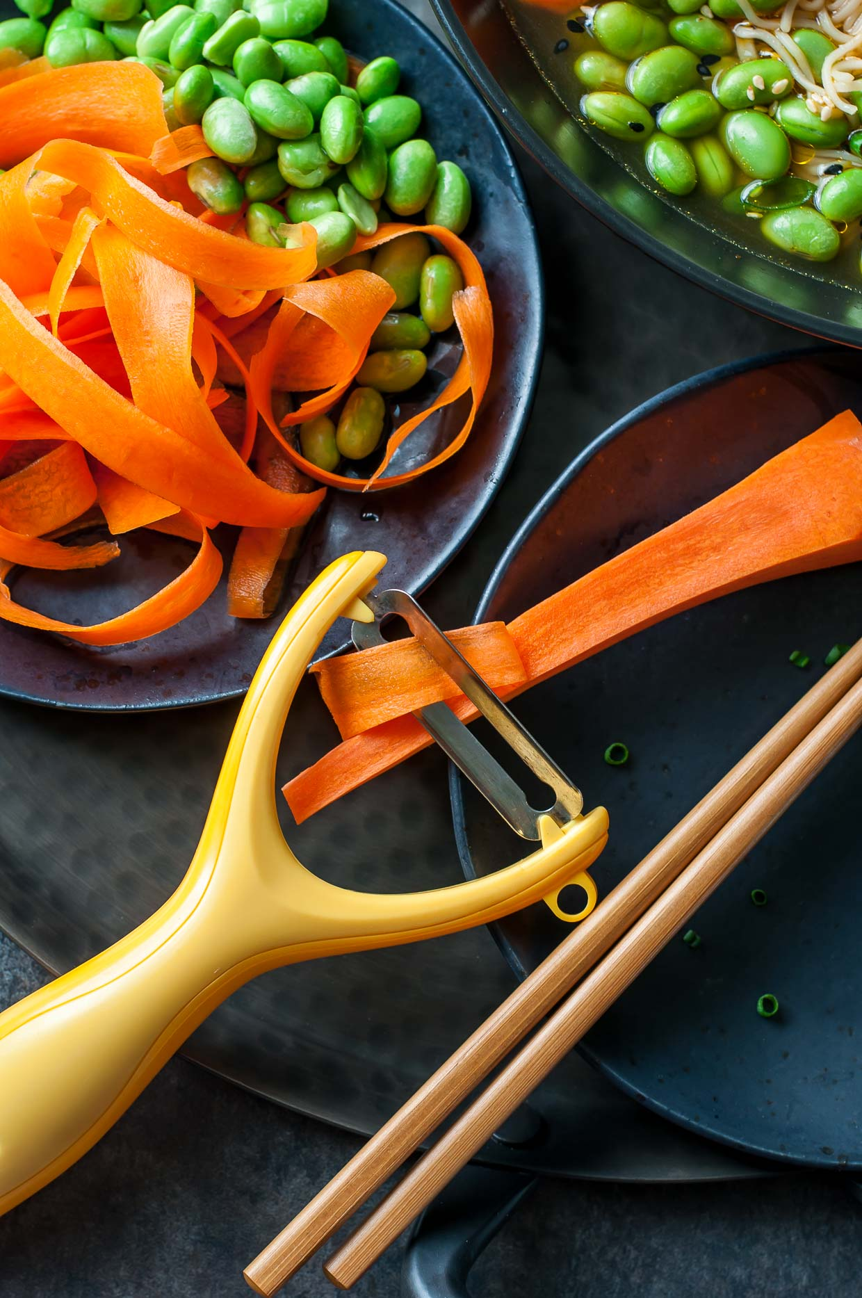 Vegan Ramen Bowls with Edamame and Mushrooms - Easy homemade carrot noodles with a veggie peeler!