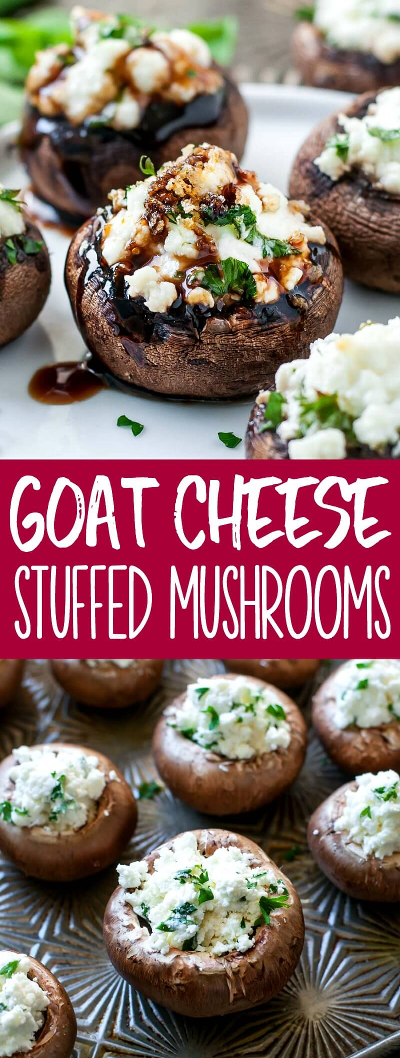 Let's jazz up our appetizer game! These herbed goat cheese stuffed mushrooms are piled high with savory whipped goat cheese, spiked with fresh herbs, and drizzled with a sweet + savory balsamic reduction to make them over-the-top delicious. #appetizer #partyfood #stuffedmushrooms #mushrooms #goatcheese #vegetarian