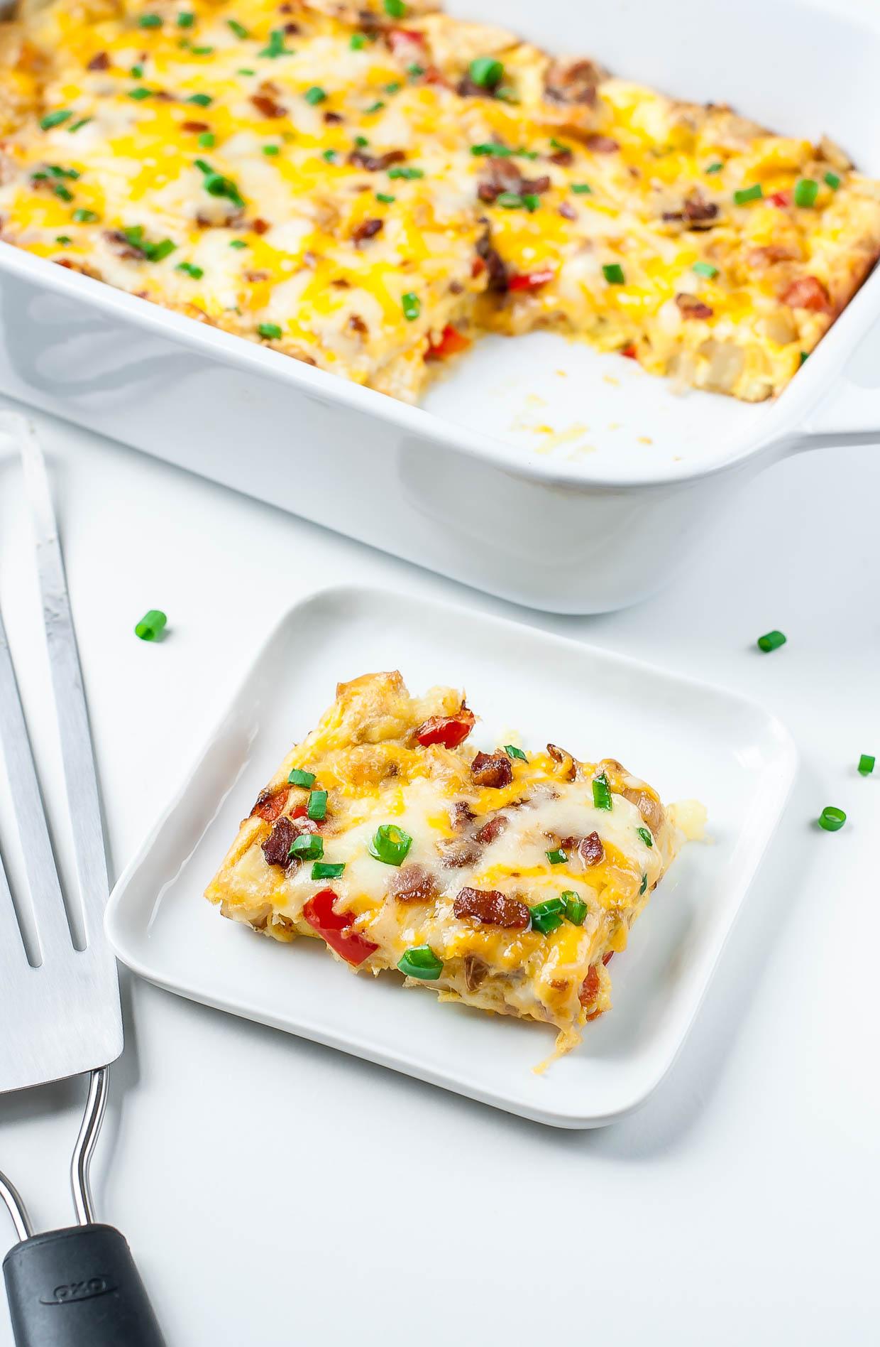 Cheesy Roasted Potato Breakfast Bake - Peas And Crayons