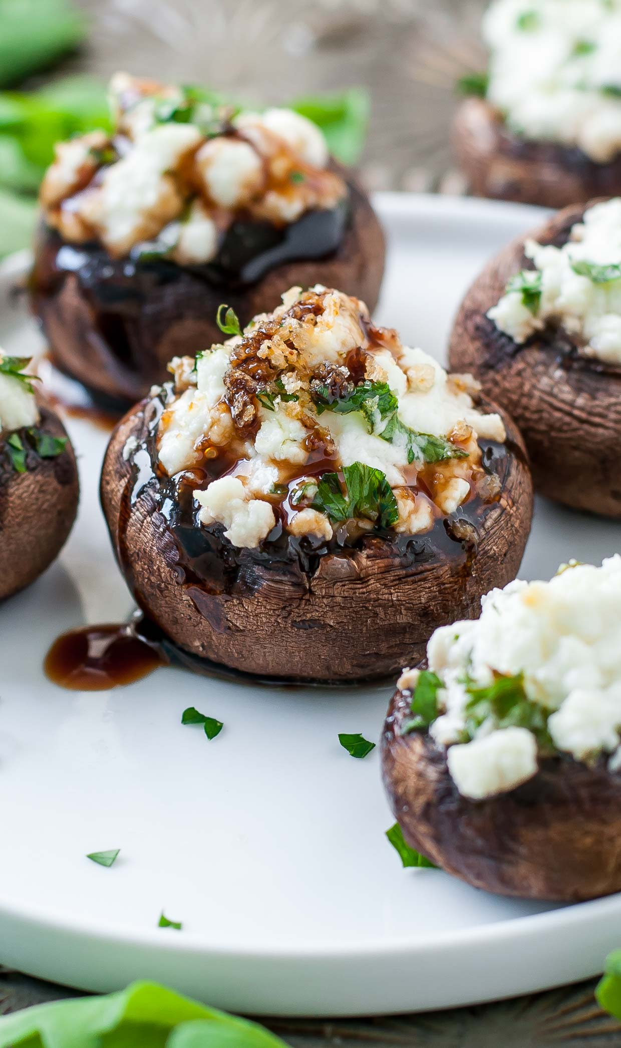 Easy Herbed Goat Cheese Stuffed Mushrooms make a tasty party appetizer!
