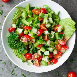 Healthy Avocado Cucumber Tomato Salad