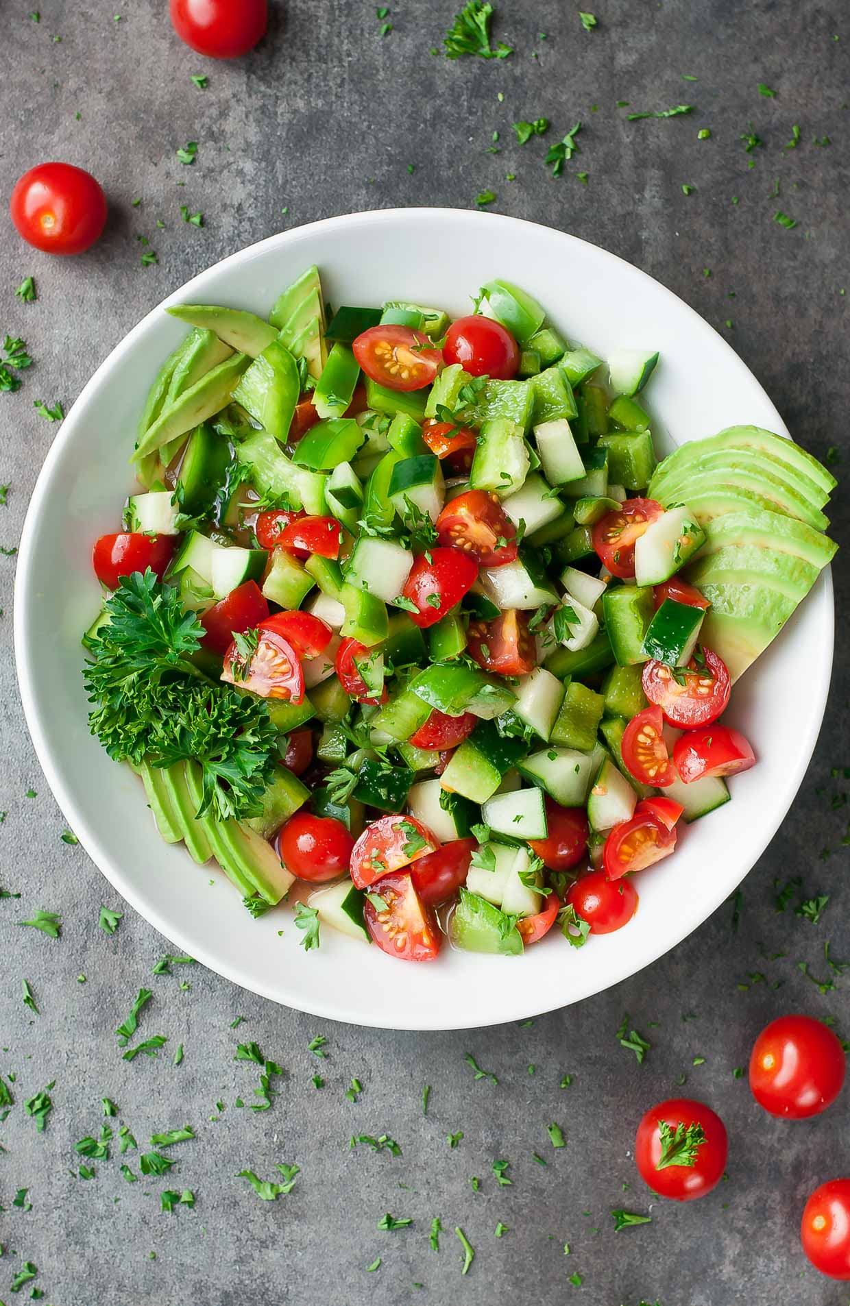 20 Easy Healthy Salad Recipes :: Healthy Avocado Cucumber Tomato Salad