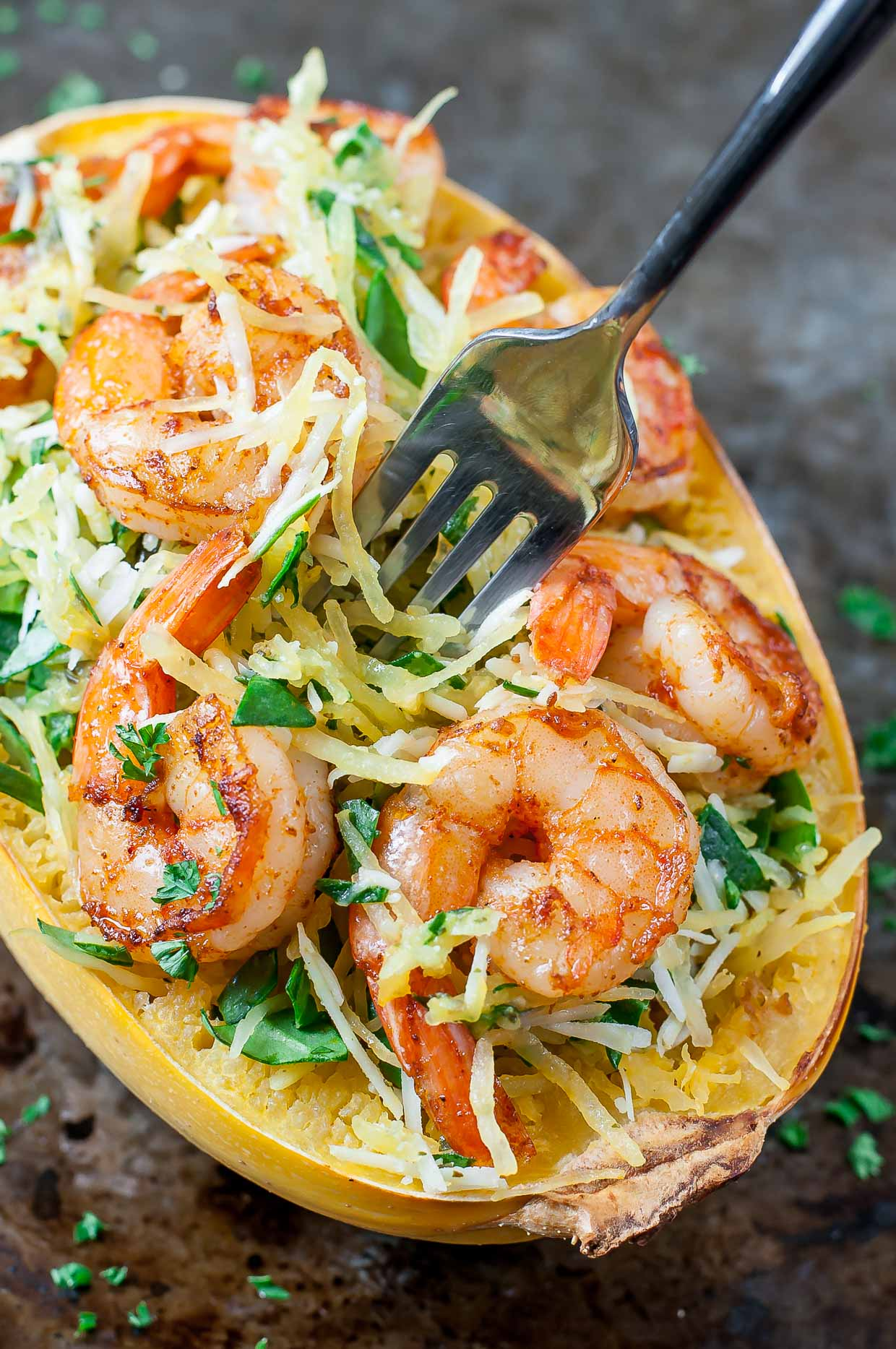 Parmesan Pesto Spaghetti Squash with Shrimp