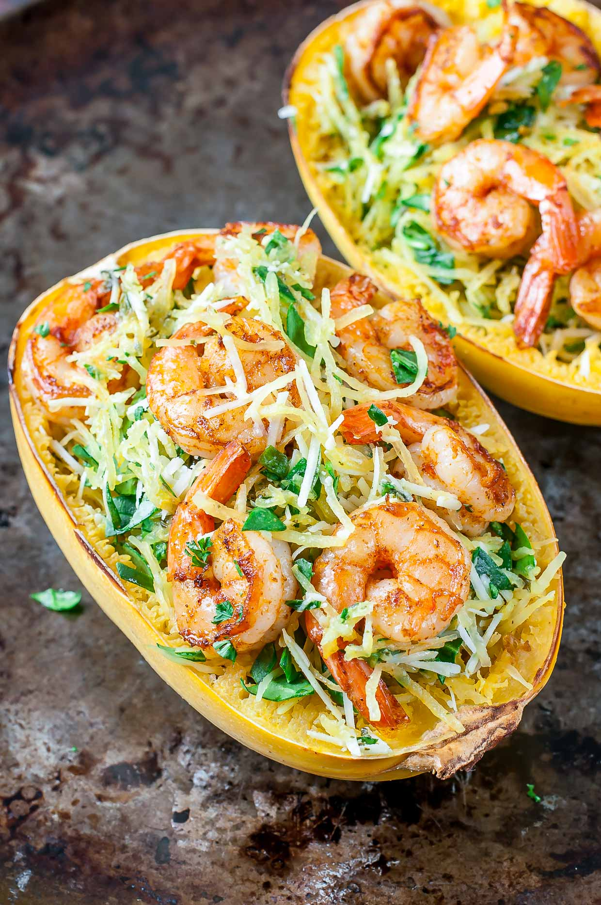 squash spaghetti pesto shrimp parmesan recipe diets swaps special spinach serve peas peasandcrayons cheese