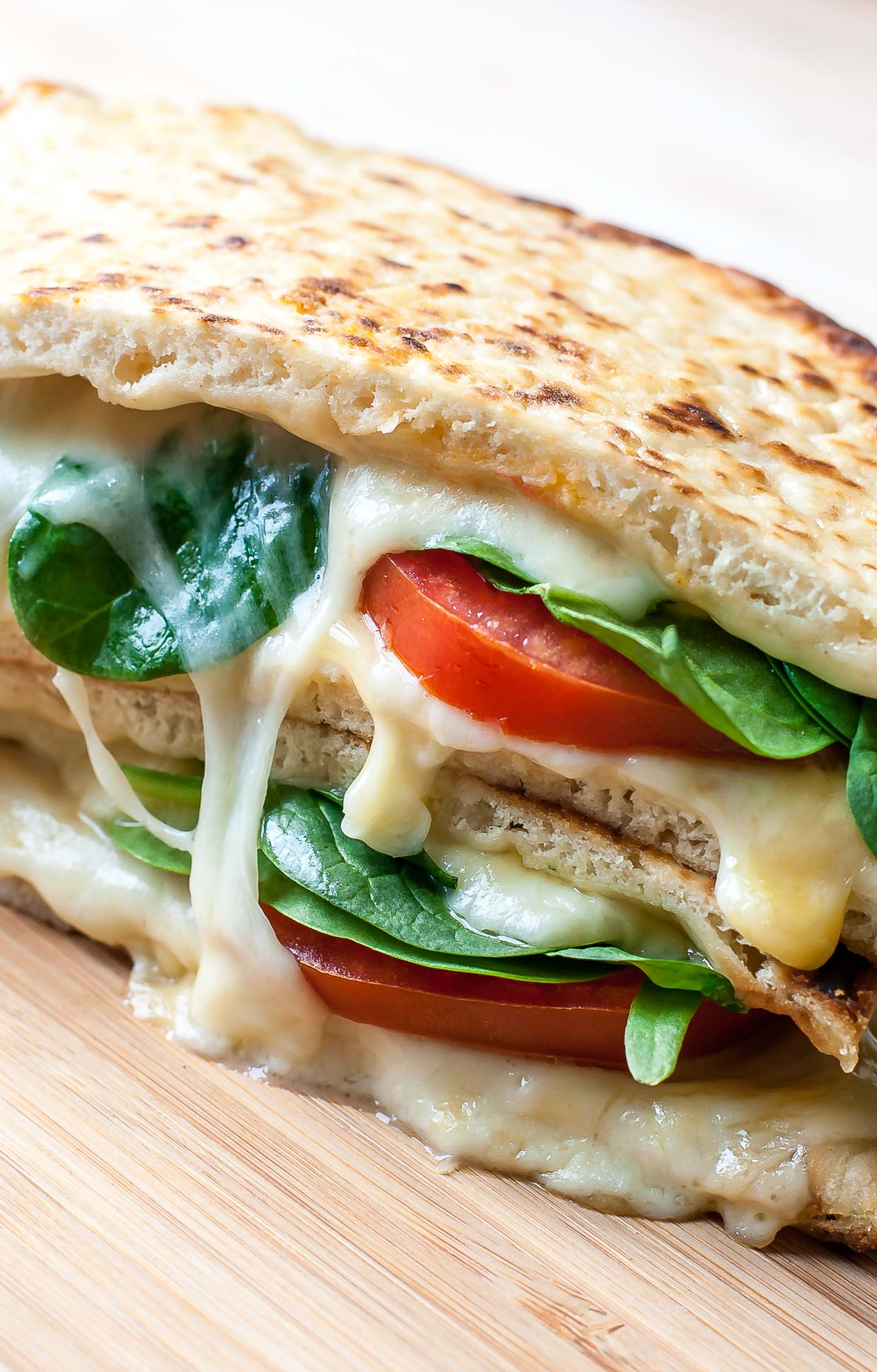Spinach and Tomato Grilled Cheese Pita