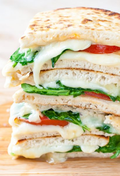 Spinach and Tomato Pita Grilled Cheese